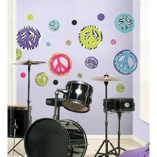ZEBRA print PEACE SIGNS wall stickers 34 decals room decor SKULL