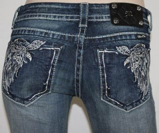 Miss Me Jeans Crystal Floral Angel Wings Savana JP5491B BootCut Sz 25