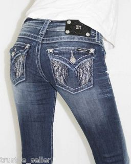 NWT MISS ME Big Crystals Feather Angel Wings Pocket Boot Cut Jeans Sz