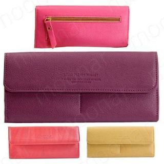 Women Pu Faux Leather Long Wallet Clutch Evening Bags Credit Card