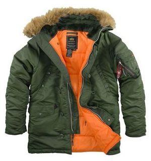 Alpha Industries Slim Fit N 3B Parka Sage \ Orange