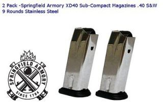 Pack Springfield Armory XD40 Sub Compact Magazines .40 S&W 9 Rounds