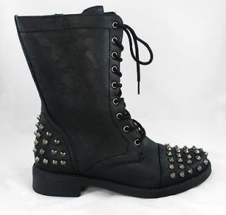 Ladies Spike Studs Military Combat Lace Up Ankle Boot Shoes Black 5.5