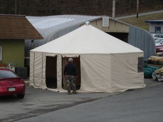 NEW MILITARY WESTERN SHELTER SYSTEM TENT 20FT DIAMETER TAN 14 Oz VINYL