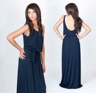 Dark Navy Blue Sexy Sleeveless Backless Party Evening Maxi Dress S M