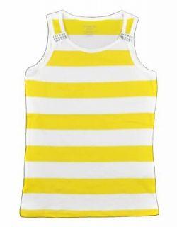 One Step Up Girls Dandelion & White Striped Tank Top Size 4 5/6 6X $14