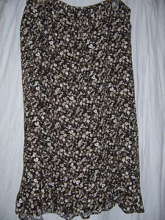 Christopher & Banks brown floral print skirt size 1X