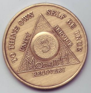 months   Alcoholics Anonymous AA medal token chip coin