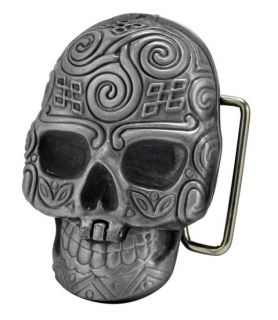 SILVER Skull Secret Compartment Belt Buckle Dia De Muertos Cool Hip