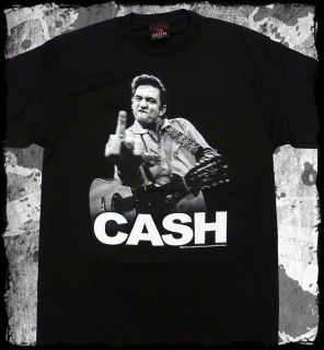 Johnny Cash   Flippin Middle Finger t shirt   Official   FAST SHIP