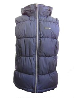 New Mens Adidas Navy Hooded Bodywarmer Full Zip Gilet Padded Jacket