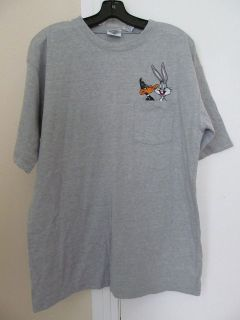 Acme Gray Tshirt Short Sleeve Daffy Duck Bugs Bunny Emblem Tee Looney