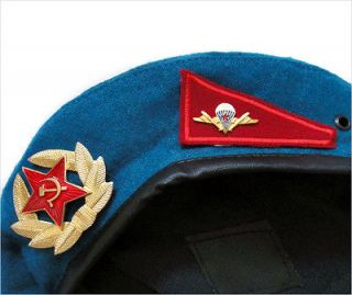 Army Blue VDV Paratrooper Airborne Troops Forces Beret Hat Badges