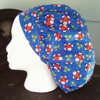BLUE SANTA STARS Surgical Medical OR Bouffant Nurses Scrub Cap Hat