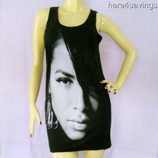 AALIYAH Black Tank Top, Urban R&B Soul T Shirt SINGLET Hip Hop STAR