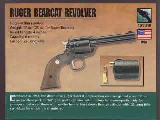 RUGER BEARCAT REVOLVER .22 Atlas Classic Firearms Gun CARD