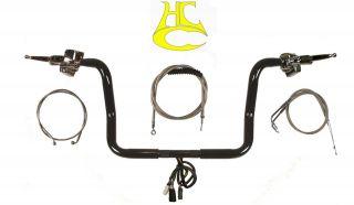 Black 12 Ape Hangers Kit Harley Davidson Electra Glide w