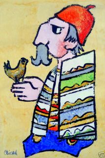 Vintage 1970s Original Jovan OBICAN Acrylic Painting Man & Bird