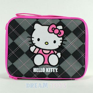 Sanrio Hello Kitty Black Argyle Print Lunch Bag   Box Case Girls