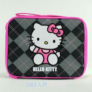 Sanrio Hello Kitty Black Argyle Print Lunch Bag   Box Case Girls
