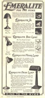 1920 PAGE AD   EMERALITE   GREEN GLASS SHADE DESK LAMP   VERY