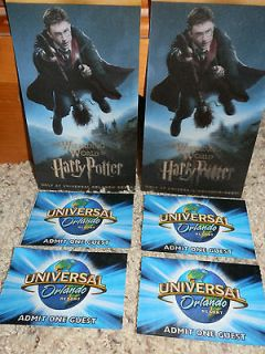 Four (4) 1 Day/ 1 Park Universal Studios Orlando Tickets & (2) Harry