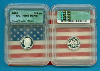 USA   World Silver coins  2006 Ronald Reagan Silver Dime  (PF68