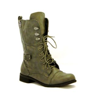 LADIES/WOMENS LACE UP MILITARY ARMY BOOTS KHAKI SIZE3 8