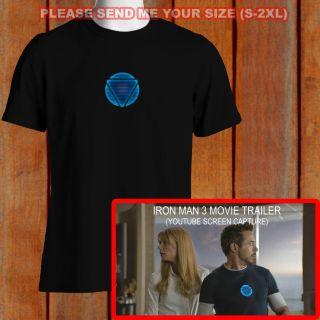 The New Avangers Tony Stark T Shirt Arc Reactor Iron Man 3 Tee S XXL