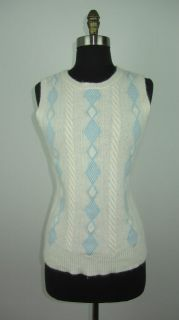 NAUTICA Lambs Wool Angora Blend Cable Argyle Sweater Vest Size M