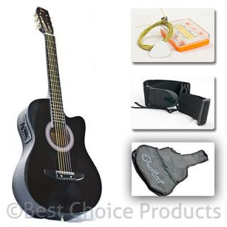 Electric Acoustic Guitar Cutaway Design With Guitar Case, Strap, Tuner
