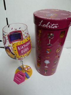 LOLITA SANTA BARBARA 15 oz. WINE HAND PAINTED GLASS FOR BIRTHDAY GIRL