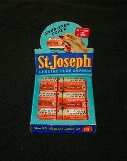 JOSEPH ASPIRIN COUNTER DISPLAY HOLDER. PLUS 1 DOZEN ASPIRIN TINS