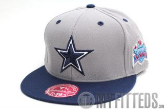 Dallas Cowboys Grey Navy Blue Superbowl XXVII Mitchell and Ness Fitted