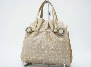 AUTHENTIC BVLGARI Twist Logo Mania Hand Bag Gold USED
