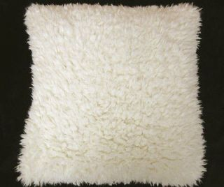 EF49 Pale Ivory FAUX LONG FUR SKIN PILLOW PILLOW/CUSHION/THROW COVER