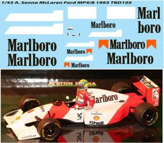 43 DECALS FOR McLAREN FORD MP4/8 AYRTON SENNA 1993 F1 DECAL TBD105