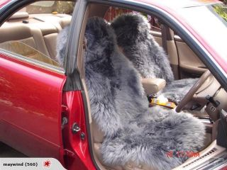 Pair Grey Sheepskin Car Seat Covers Cover MoreColors