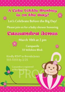 UPrint UMBRELLA MONKEY Baby Shower Invitation BIRTHDAY girl pink and