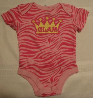 GLAMAJAMA Baby Girls 3 6 Month Pink Zebra Print Glam Onesie Top Short
