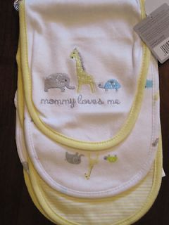 New NWT Carters Set of 3 Pack Baby Feeding Burp Cloths Yellow Mommy