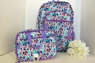 New GAP Kids Girls Purple Multi Heart Backpack & FREE Matching Lunch