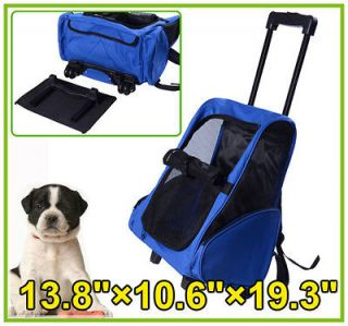 New 4In1 Pet Dog Carrier Backpack Airline Rolling Luggage Travel Bag
