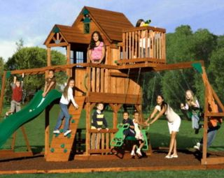 NEW BIG 9 KID Cedar Wood Fort Playground Slide Monkey Bars Swing Set