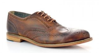 Shoes Men Charlie Dress Casual Wingtip Oxford Tan Brown Leather Shoe
