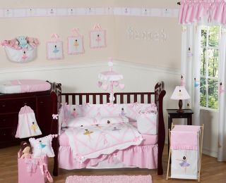 BALLET BALLERINA BABY BEDDING 9p CRIB SET FOR NEWBORN GIRL BY SWEET