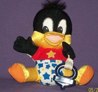 1995 BABY DAFFY DUCK Teether Looney Tunes Stars Plush Stuffed Baby Toy