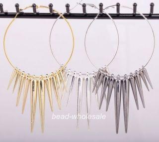 Spike Charms Hoop Basketball Wives Earrings Silver/Golden/Black