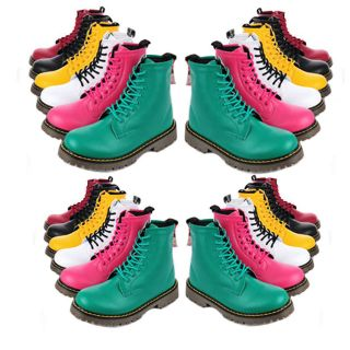 Combat Boots LaceUp Military Work Womens Flats Shoes Punk Ankle Boots