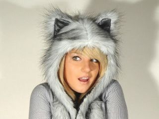 Faux Fur Cute Animal Ears Hat Gloves Mittens Scarf Hood Paws ** Husky